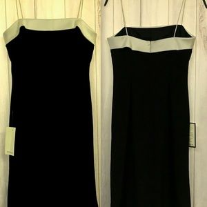 ANN TAYLOR PETITES  Black Crepe & Satin Sheath